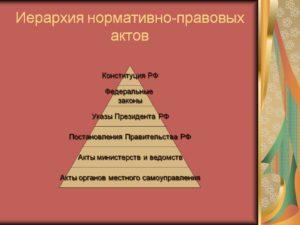 Выстроить нормативно правовые акты в иерархический порядок. Виды основных НПА