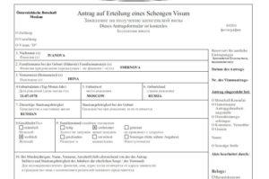 Образец заполнения анкеты на визу австрия. Пример заполнения анкеты на визу в австрию