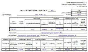 Требование накладную по форме м 11. Порядок работы с требованием-накладной: основные правила оформления и важные нюансы