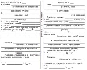 Образец заполнения расписки в приеме военного билета.  Военный билет корешок расписки
