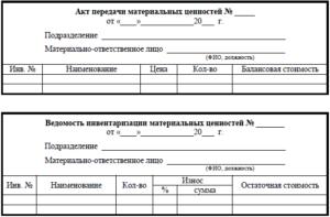 Акт приема передачи тмц при увольнении кладовщика. Передача материальных ценностей другому лицу