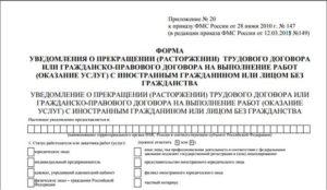 Заявление об увольнении иностранного работника. Уведомление об увольнении иностранца: форма уведомления