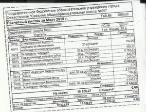 Расчетный листок по зарплате педагогов. Расчетный листок
