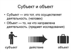 Что такое субъект действия. Разница между объектом и субъектом