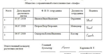 Образец журнала регистрации выдачи расчетных листков. Все о расчетных листках